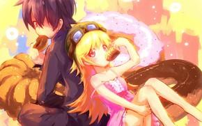 Картинка тыква, пончик, спина к спине, вампирша, Bakemonogatari, Истории Чудовищ, Koyomi Araragi, Shinobu Oshino, парень с …