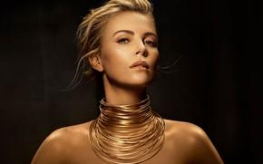 Картинка взгляд, Charlize Theron, женщина, актриса, украшение, Dior