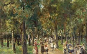 Картинка пейзаж, картина, 1925, Max Liebermann, Макс Либерман, Гуляющие в Тиргартене