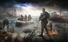 Картинка дом, лодка, корабль, болото, арт, stalker, свд, сталкер, сталкеры, ак 47