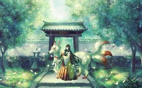 Картинка бабочки, парк, Япония, дорожка, храм, жрица, кицунэ, демон-лис, девятихвостая лиса, ворота тории