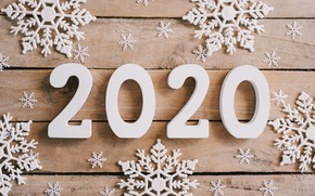 Картинка снежинки, Новый Год, new year, wood, snowflakes, 2020, hqappy