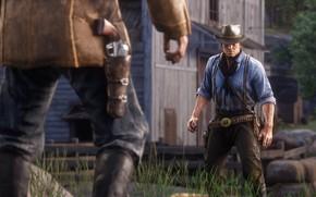 Картинка шляпа, дуэль, оружия, Rockstar, Бандит, Red Dead Redemption 2, Arthur Morgan
