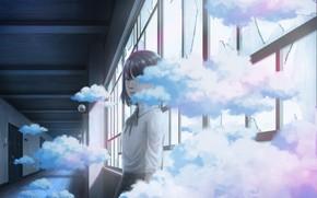 Картинка девушка, облака, коридор