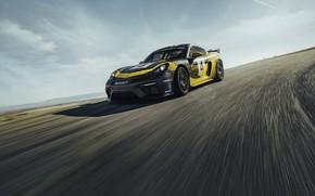 Картинка асфальт, купе, Porsche, Cayman, 718, 2019, чёрно-жёлтый, GT4 Clubsport