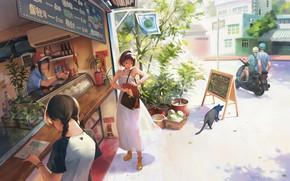 Картинка улица, аниме, арт, будни, магазинчик, кафешка, Taejune Kim, A warm day