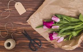 Картинка цветы, бумага, colorful, тюльпаны, розовые, wood, pink, flowers, tulips, spring, purple