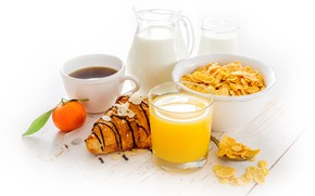 Картинка кофе, завтрак, молоко, сок, хлопья, круассан