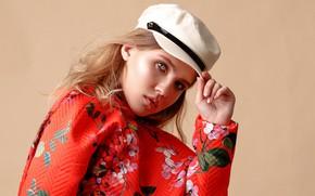 Картинка взгляд, девушка, цветы, лицо, стиль, фон, рука, портрет, кепка, Карина, пальто, Армен Айриян