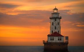 Картинка море, облака, маяк, sea, clouds, lighthouse, Jon Kinney