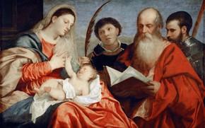 Картинка ок.1520, св.Иеронимом и св.Маврикием, Titian Vecellio, св.Стефаном, Мадонна с младенцем