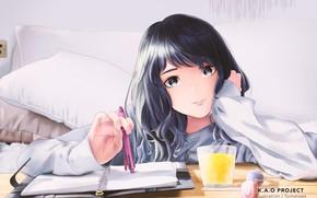 Картинка девушка, стакан, блокнот