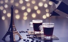 Картинка кофе, зерна, Эйфелева башня, кофейник