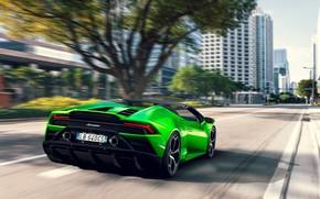 Картинка машина, деревья, улица, скорость, Lamborghini, фонари, оптика, спорткар, Spyder, Evo, Huracan