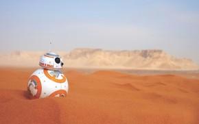 Обои песок, пустыня, робот, star wars, андроид, BB-8