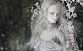 Картинка девушка, цветы, лицо, волосы, кукла, блондинка