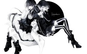 Картинка фон, девочки, аниме, монохромная