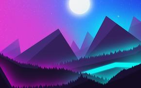 Картинка Горы, неон, Пейзаж, mountains, ночное небо, красивый вид, красивый пейзаж, Неоновая луна, лунное сияние, ночные …