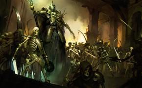 Картинка Череп, Армия, Кости, Тьма, Fantasy, Демоны, Blizzard, Art, Фантастика, Diablo, Game, Зло, Диабло, Скелеты, Blizzard …