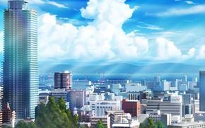 Обои облака, город, день