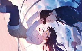 Картинка небо, девушка, парень, кулоны