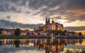 Картинка отражение, река, замок, здания, дома, Германия, Germany, Саксония, Saxony, Майсен, Elbe River, Замок Альбрехтсбург, Albrechtsburg …