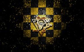 Картинка wallpaper, sport, logo, NHL, hockey, glitter, checkered, Pittsburgh Penguins