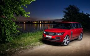Картинка дорога, Range Rover, ночной город