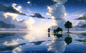 Картинка небо, музыка, пианино, двое