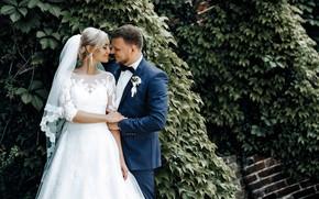Картинка девушка, радость, платье, пара, мужчина, влюбленные, невеста, свадьба, жених