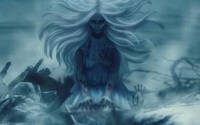 Картинка девушка, кровь, волосы, мистика