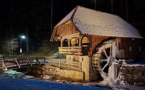 Обои колесо, лёд, зима, мельница водяная