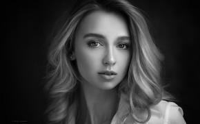Картинка black & white, girl, photo, photographer, blue eyes, monochrome, model, blonde, shirt, portrait, close up, …