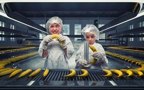 Картинка завод, девочки, бананы, линейка
