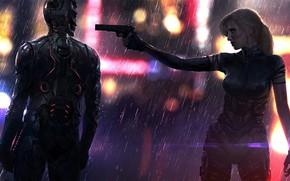 Картинка Девушка, Город, Игра, Неон, Дождь, Оружие, Арт, Киборг, CD Projekt RED, Cyberpunk 2077, Киберпанк, Cyberpunk, …