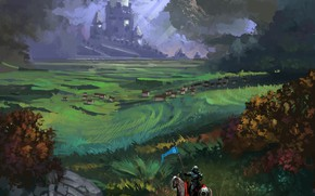 Картинка fantasy, armor, landscape, nature, animal, horse, castle, digital art, artwork, shield, warrior, fantasy art, Knight, …