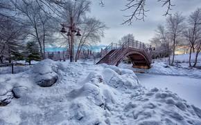 Картинка парк, снег, мостик, зима, природа, деревья, кусты, ручей, фонари, пейзаж