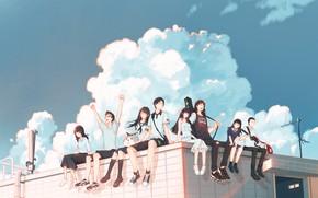 Картинка крыша, девушки, парни, by pinattsu