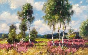 Картинка 1908, German painter, немецкий живописец, Alexander Max Koester, Birches in a heath landscape, Березы в …