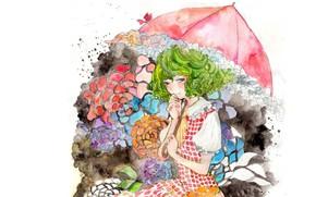 Картинка зонт, акварель, зеленые волосы, kazami yuuka, рюшечки, белая блузка, проект Восток, touhou project, by Konose
