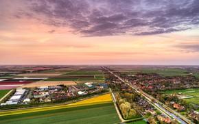 Картинка небо, облака, деревья, поля, дома, горизонт, панорама, канал, Нидерланды, вид сверху, Schagerbrug