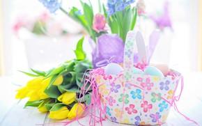 Картинка цветы, яйца, весна, Пасха