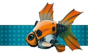 Картинка робот, рыбка, Stephen Anderson, FishBot 2.0 - Render