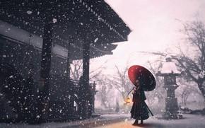 Картинка девушка, снег, зонт, храм