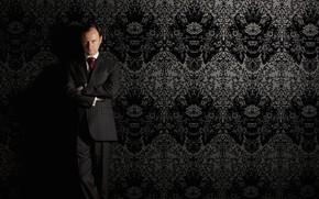Картинка взгляд, стена, обои, Sherlock, Марк Гэтисс, Майкрофт Холмс, Sherlock BBC, Sherlock Holmes, Sherlock (сериал)