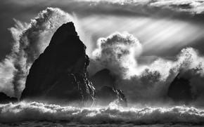 Картинка волны, лучи, брызги, шторм, скалы, waves, storm, rocks, rays, spray, Takafumi Yamashita