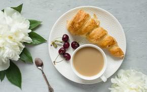 Картинка цветы, кофе, завтрак, пирожное, заварное