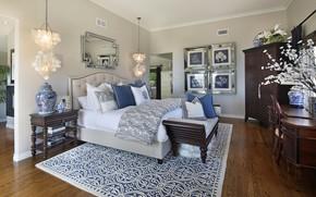 Картинка комната, кровать, интерьер, зеркало, спальня, светильники