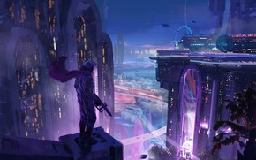Картинка Ночь, Город, Неон, City, Арт, Assassin, Night, Фантастика, Illustration, Concept Art, Cyberpunk, Environments, Anthill stories, …