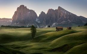 Картинка горы, холмы, Альпы, домики
